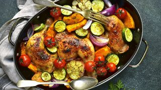 Roasted Chicken Hindquarters with Garlic, Squash and Tomatoes