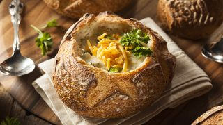 Classic Broccoli Cheddar Soup in Bread Bowls