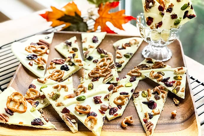 Harvest White Chocolate Bark with Pretzels, Fruits and Nuts