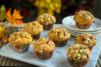 Coffee Shop Worthy Coconut Pumpkin Pecan Muffins | 31Daily.com