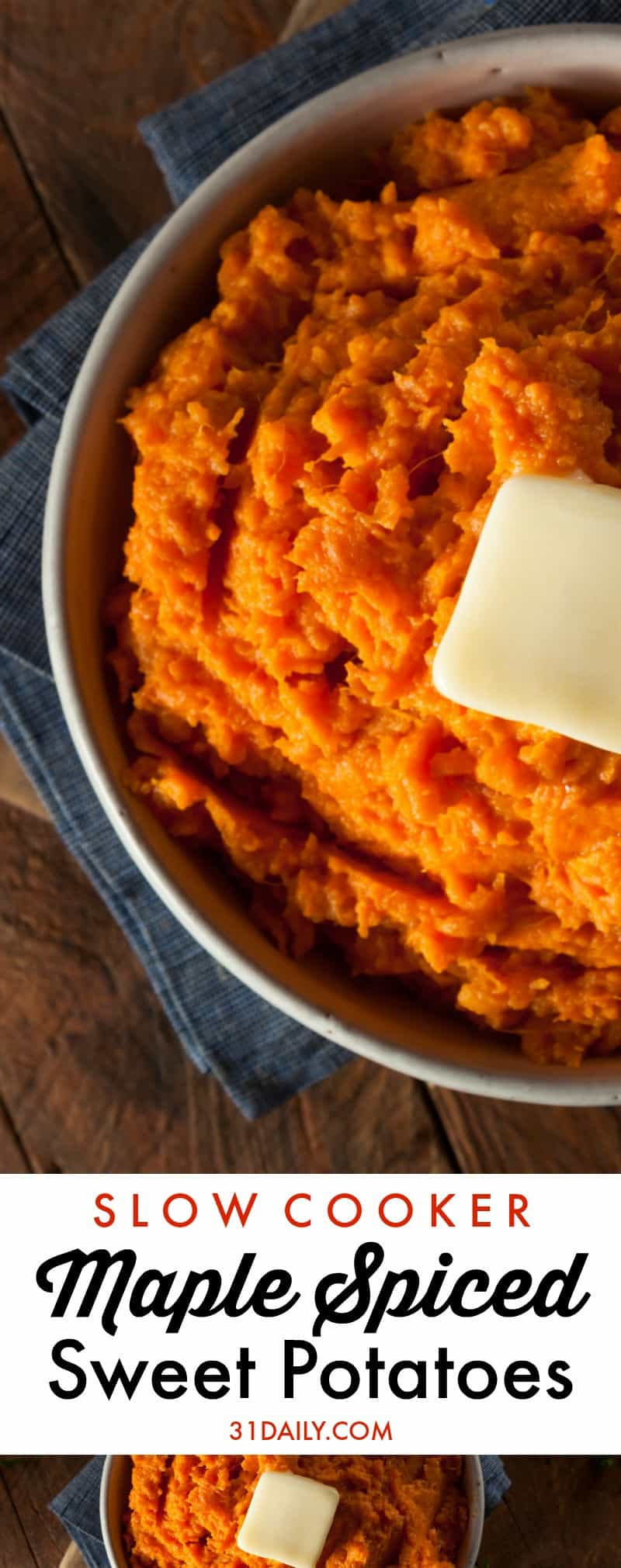 Maple Spiced Slow Cooker Mashed Sweet Potatoes | 31Daily.com