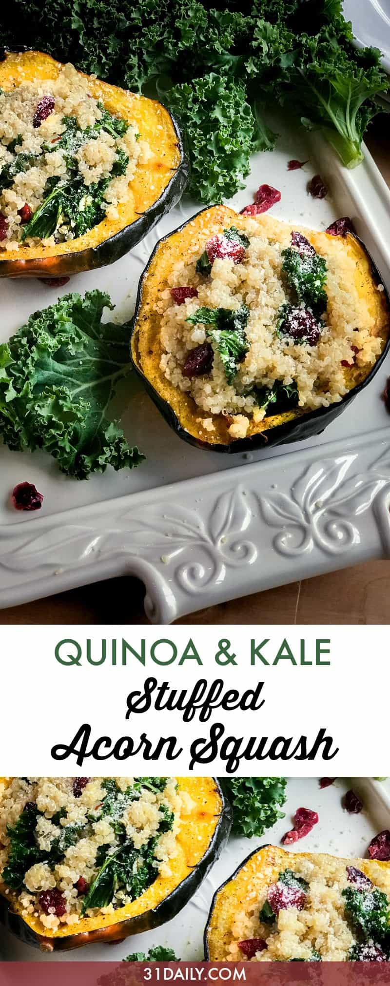 Stuffed Acorn Squash with Quinoa, Kale and Cranberries | 31Daily.com