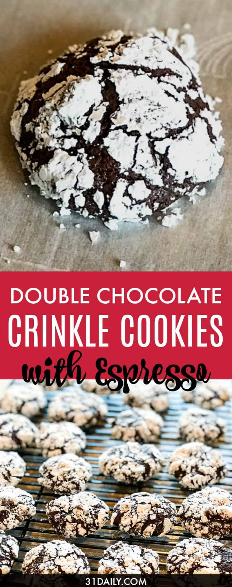 Double Chocolate Crinkle Cookies with Espresso | 31Daily.com