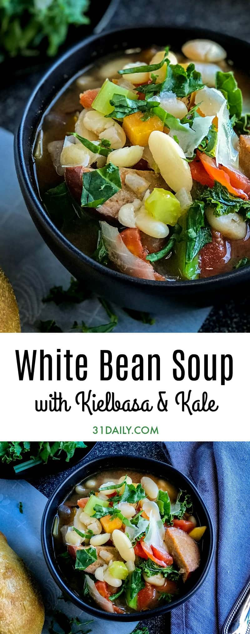 White Bean Soup with Smoked Turkey Kielbasa Sausage and Kale | 31Daily.com