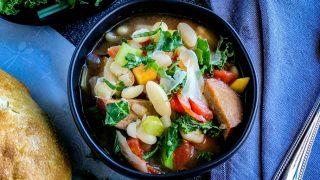 White Bean Soup with Smoked Turkey Kielbasa Sausage and Kale