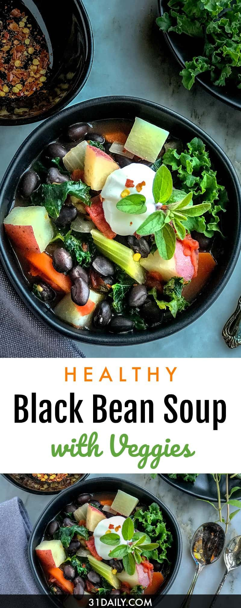Easy, Chunky and Hearty Black Bean Soup with Vegetables | 31Daily.com