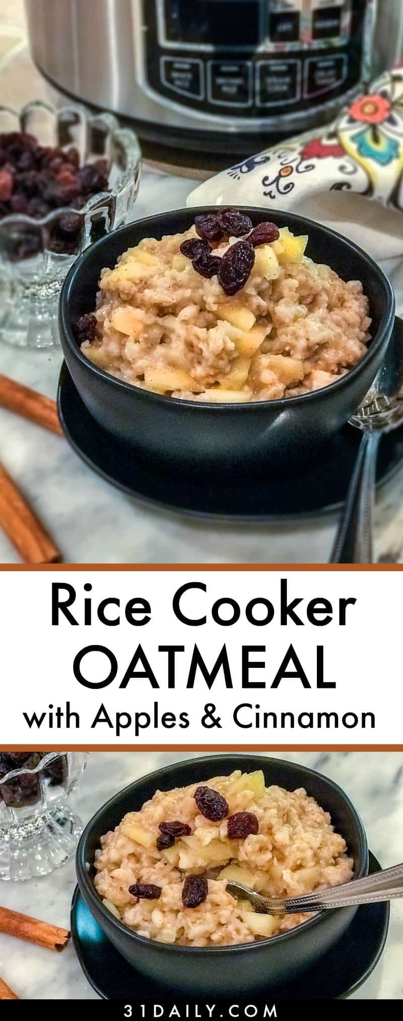 Easy Rice Cooker Oatmeal with Apples and Cinnamon | 31Daily.com