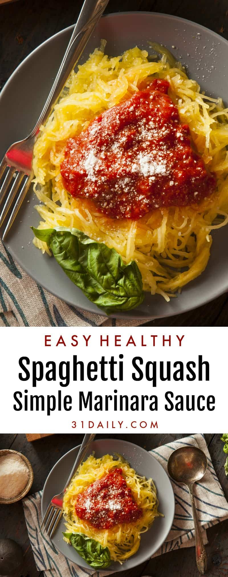 Spaghetti Squash with Simple Marinara Sauce: Easy, Healthy and Meatless | 31Daily.com