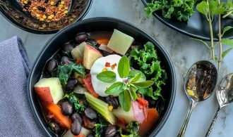 Easy, Chunky and Hearty Black Bean Soup with Vegetables