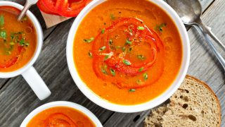 Healthy Tomato and Roasted Red Pepper Soup with Coconut Milk