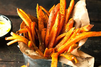 Baked Sweet Potato Fries with Avocado Greek Yogurt Dip | 31Daily.com