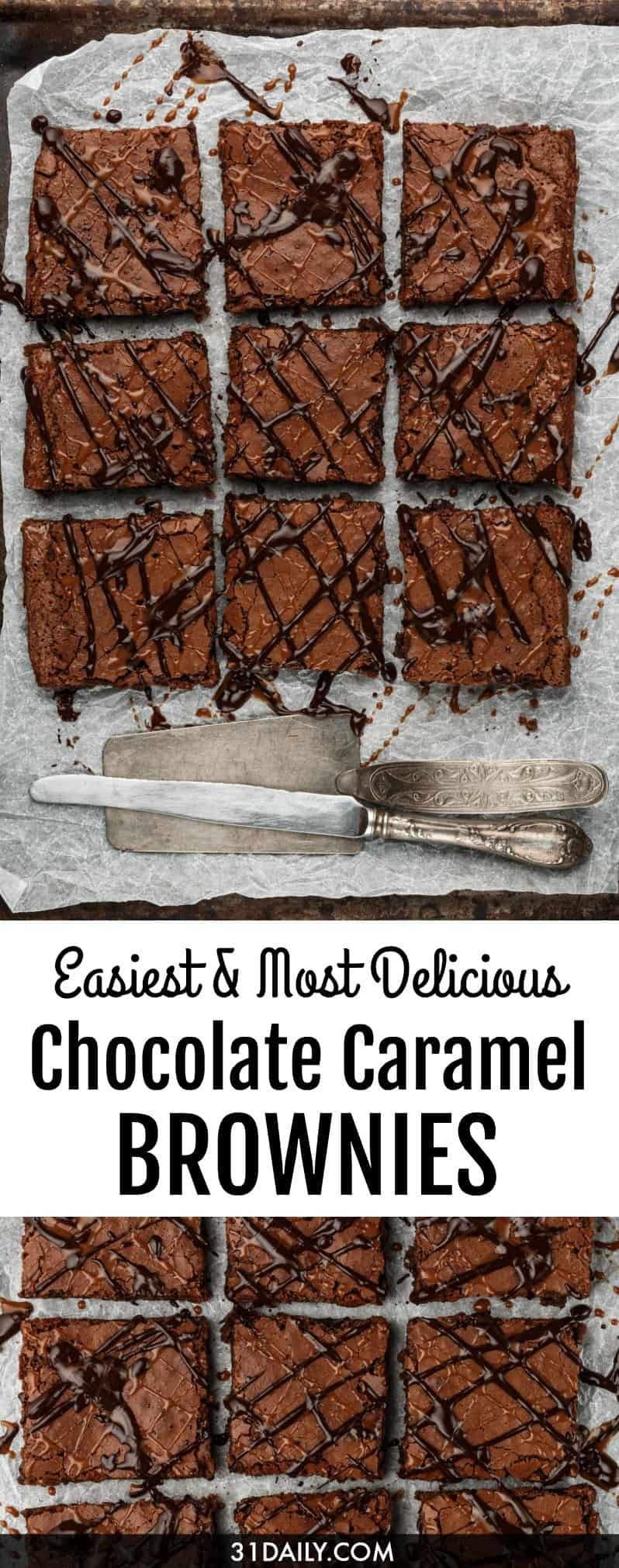Easy Dark Chocolate Caramel Brownies | 31Daily.com