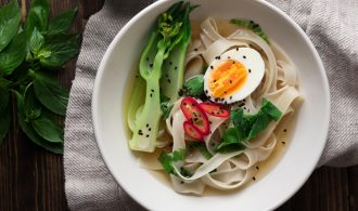 Asian Rice Noodle Soup with Bok Choy and Thai Nam Prik