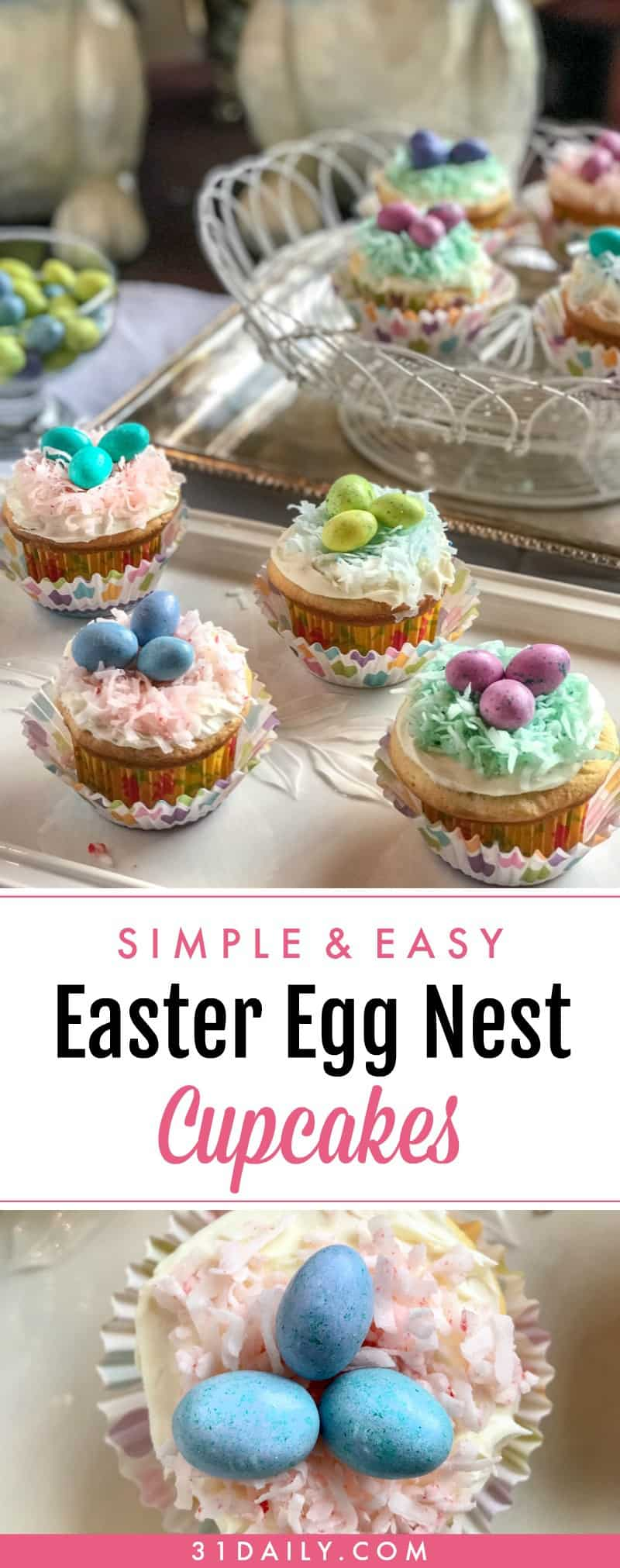 Easter Egg Nest Cupcakes Make Darling and Easy Treats | 31Daily.com