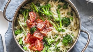 Orzo Primavera with Lemon, Asparagus, Broccoli, and Cherry Tomatoes
