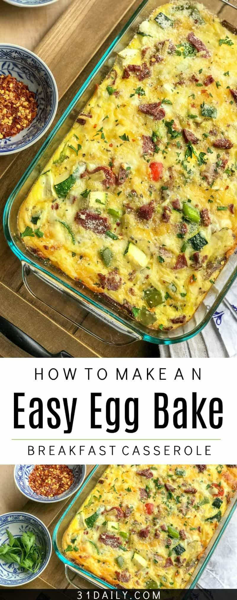 Make Ahead Easy Vegetable Egg Bake Breakfast Casserole | 31Daily.com