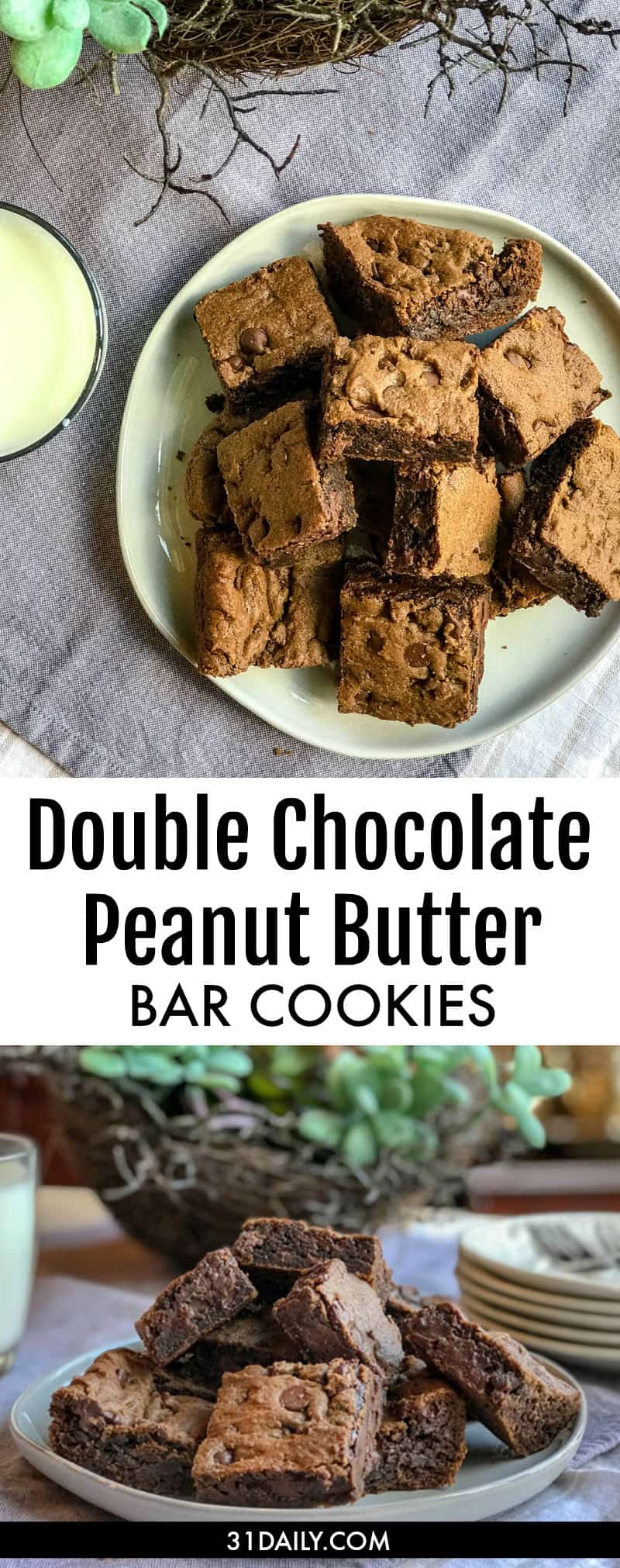 Double Chocolate Peanut Butter Cookie Bars | 31Daily.com