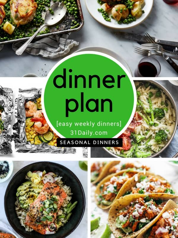 31 Daily Weekly Dinner Meal Plan | 31Daily.com