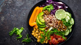 Chickpea Grain Bowls with Avocado, Peppers and Red Cabbage