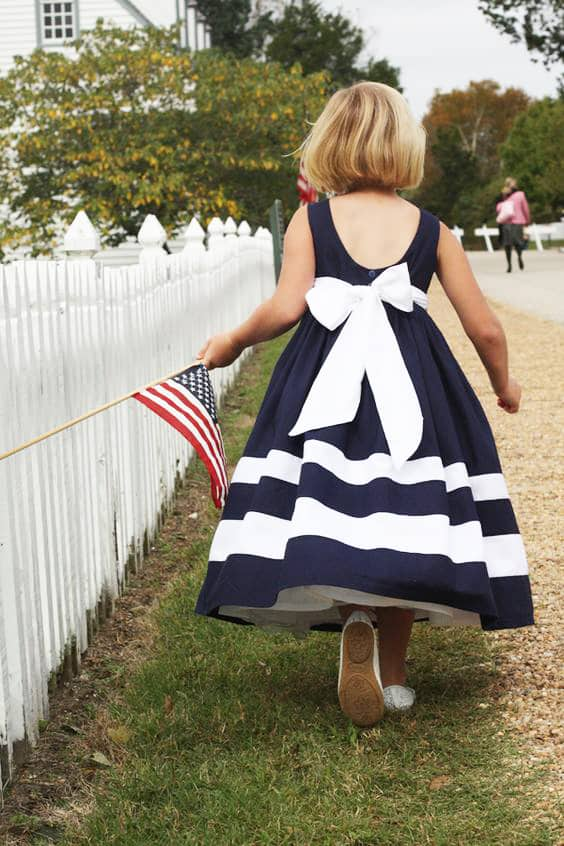 Little Girl with U.S. Flag