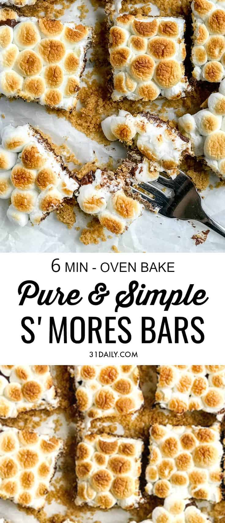 Simple, Pure, and Easy S'mores Bars... in the Oven | 31Daily.com