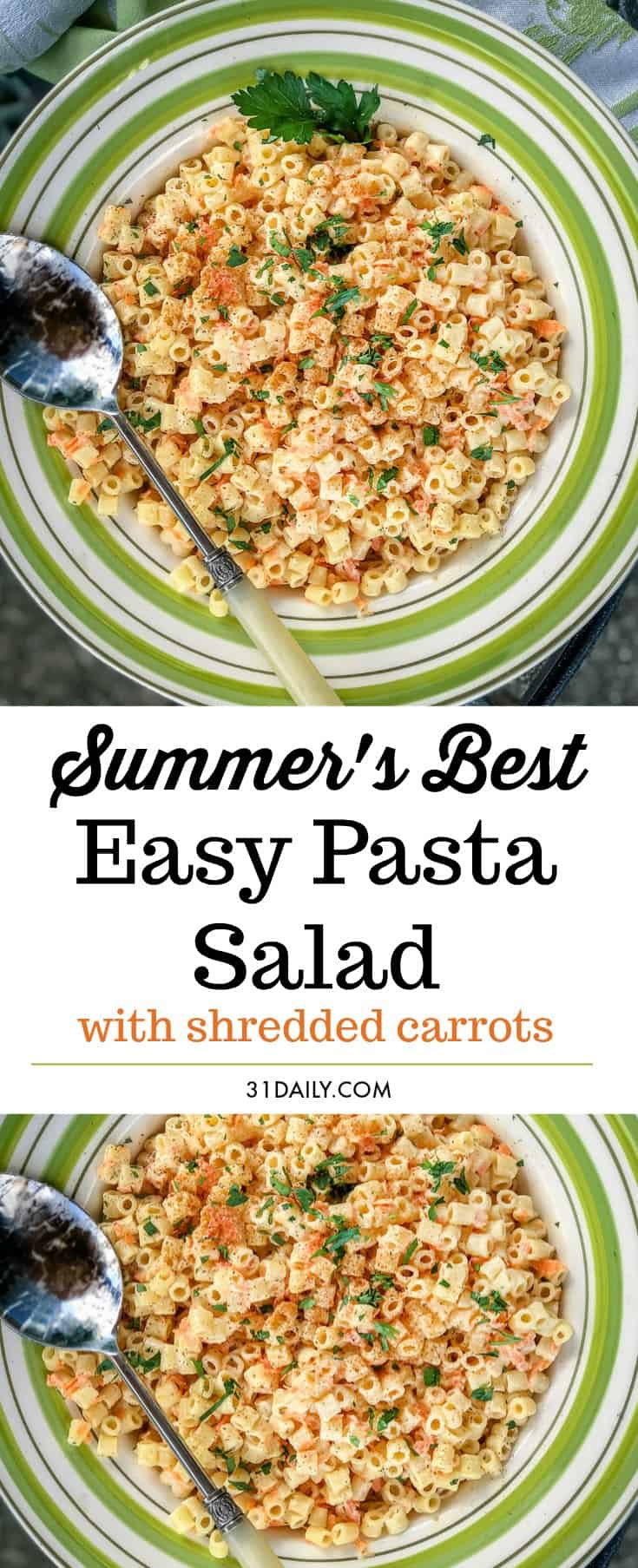 Summer Easy Pasta Salad with Shredded Carrots | 31Daily.com