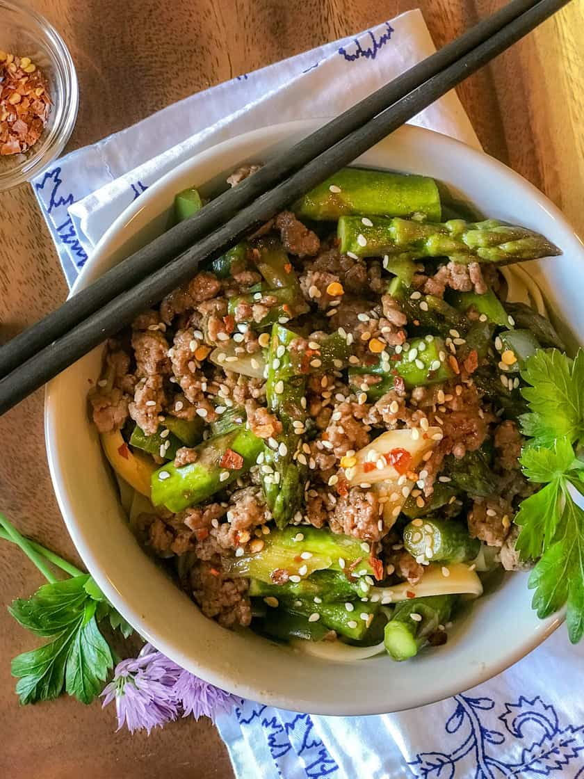 Thai Ginger Beef with Asparagus, Thai Chilis and Green Onions