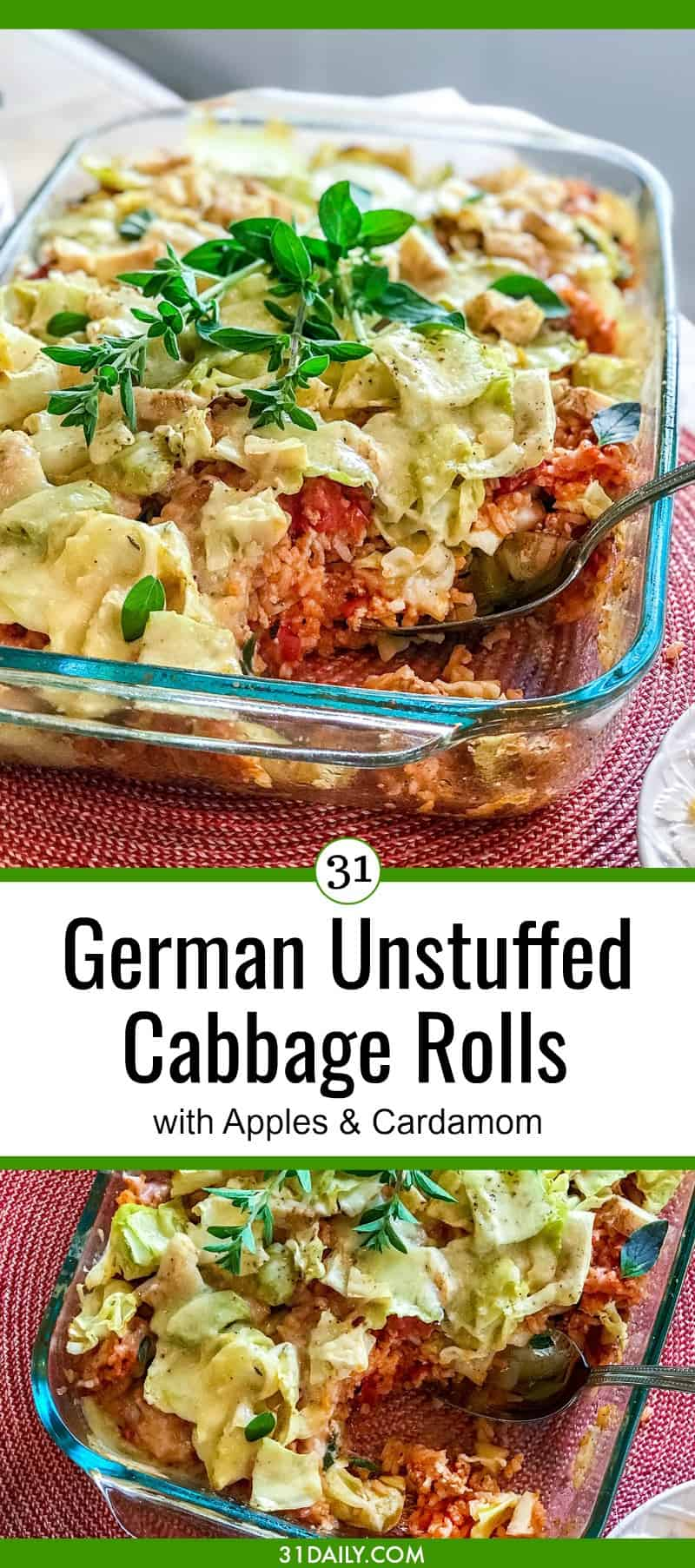 German Unstuffed Cabbage Rolls with Apple and Cardamom | 31Daily.com