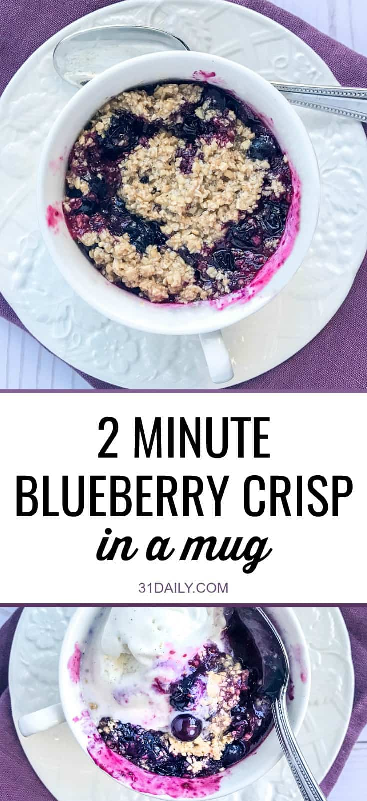 2 Minute Blueberry Crisp in a Mug | 31Daily.com