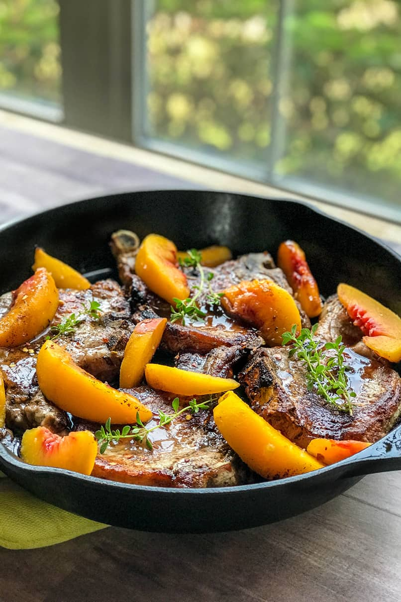 Skillet Pork Chops and Peaches with Balsamic Honey Sauce | 31Daily.com