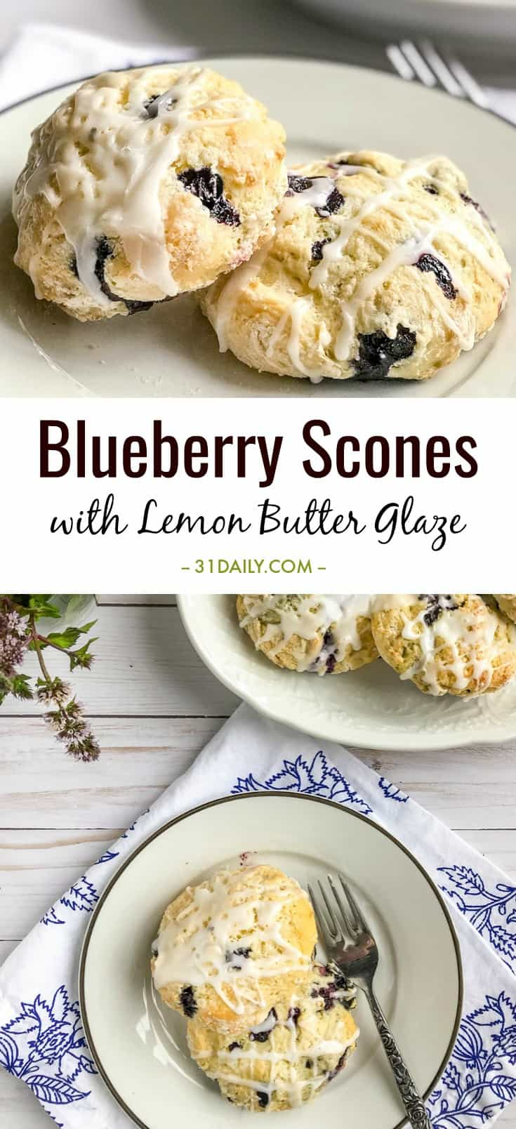 Blueberry Scones with Lemon Butter Glaze | 31Daily.com