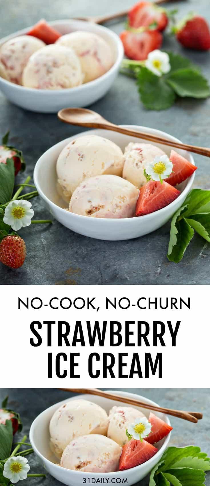 No Cook, No-Churn Strawberry Ice Cream | 31Daily.com