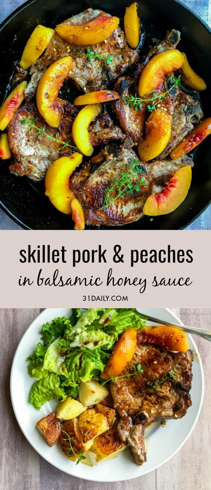Skillet Pork Chops and Peaches with Balsamic Honey Sauce   31Daily.com