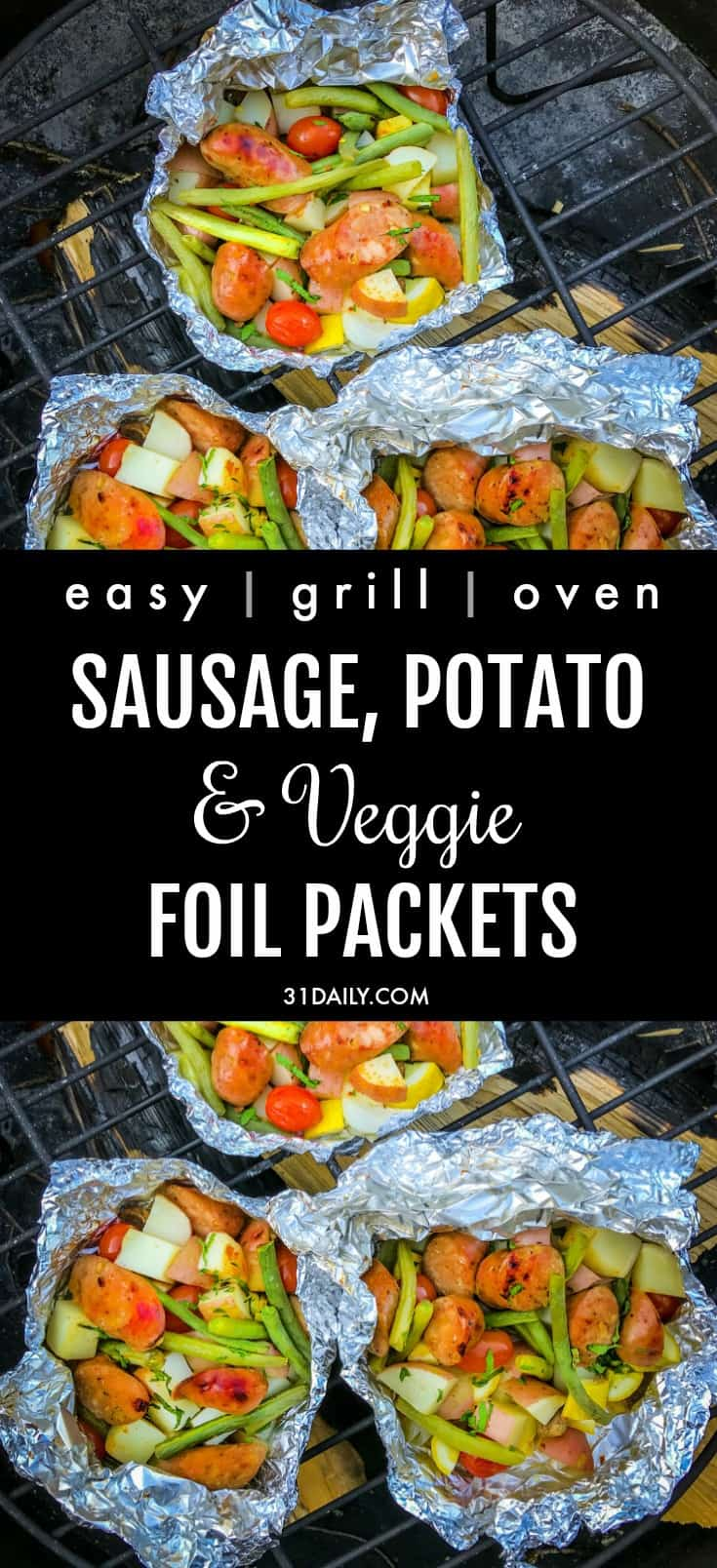 Easy Summer Sausages, Potato and Vegetable Foil Packets | 31Daily.com