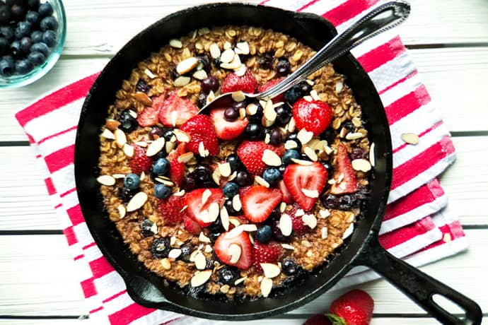 Strawberry Baked Oatmeal with Blueberries and Toasted Almonds