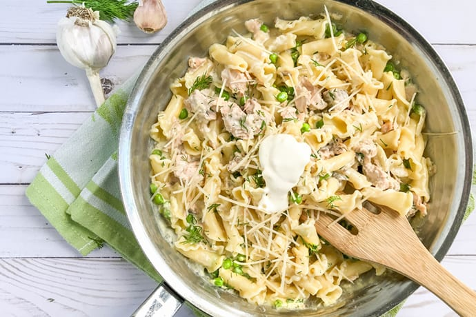 Creamy Salmon Pasta with Peas, Dill and Creme Fraîche