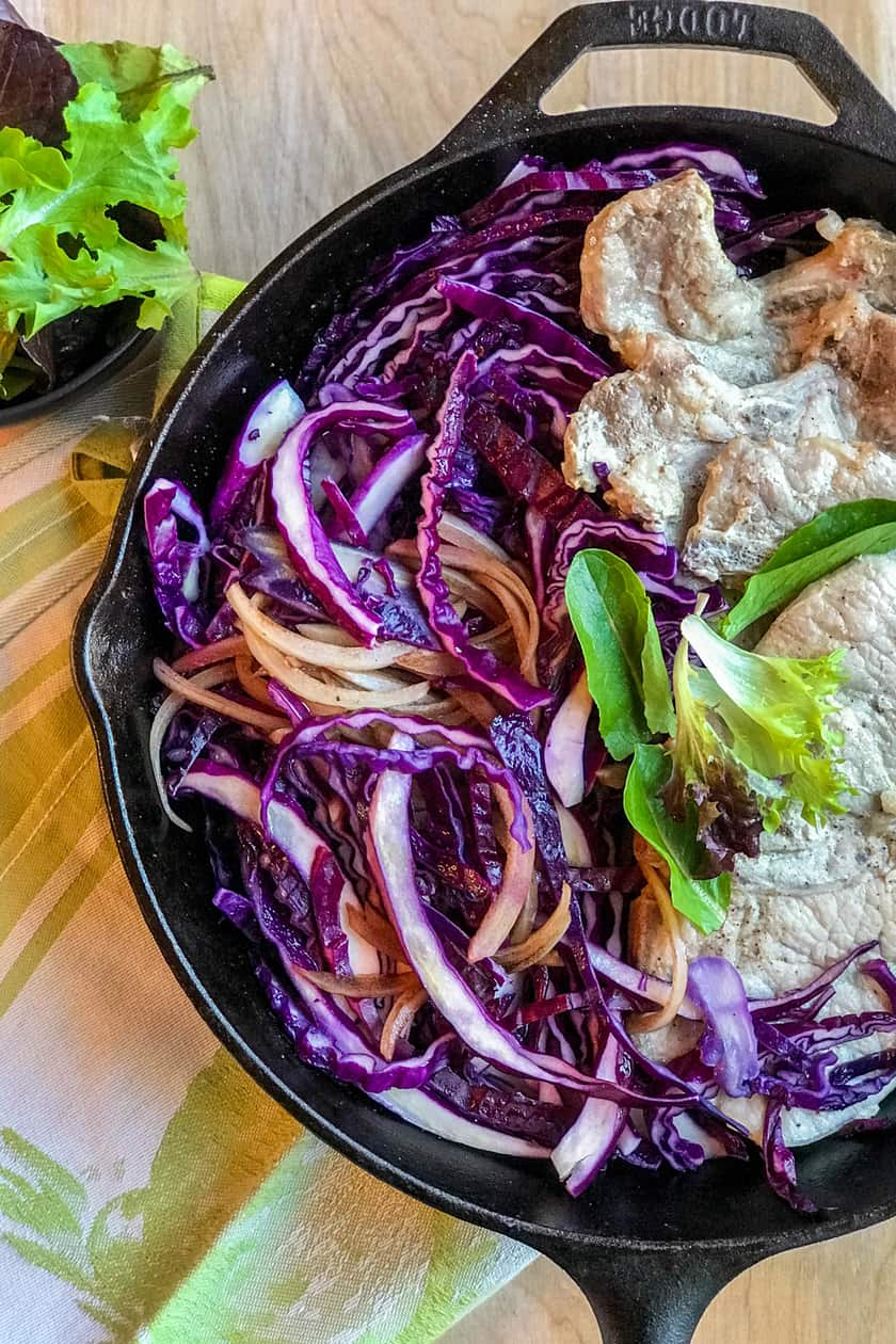 Easy Skillet Balsamic Honey Pork and Red Cabbage | 31Daily.com