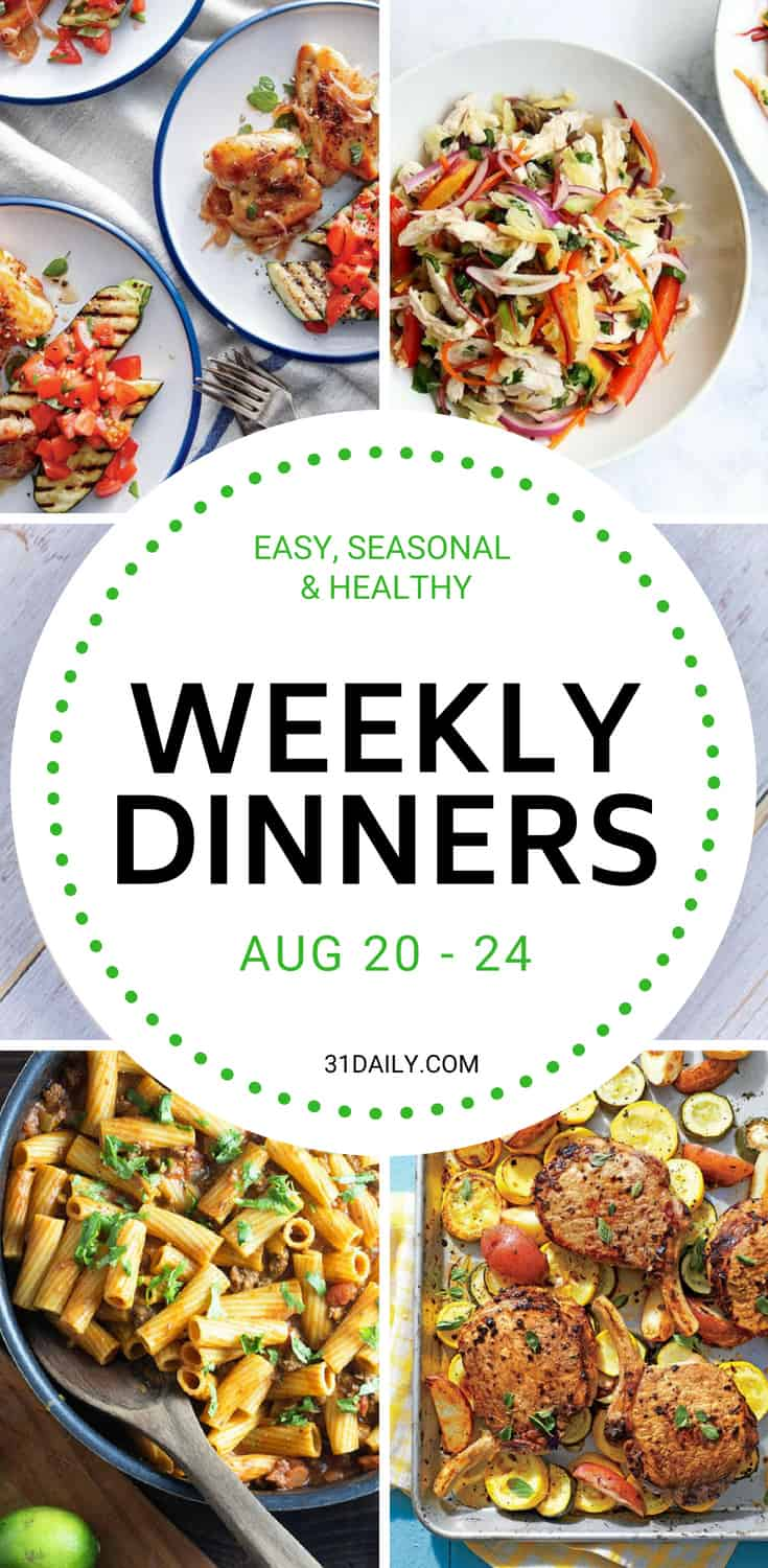 Weekly Dinner Meal Plan // Week 34: Under 30 Minute Dinners | 31Daily.com