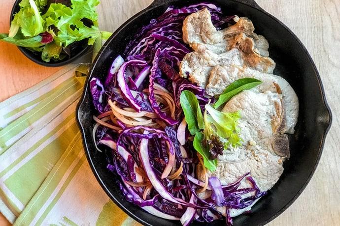 Easy Skillet Balsamic Honey Pork and Red Cabbage