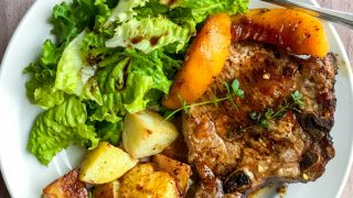 Skillet Pork Chops and Peaches with Balsamic Honey Sauce