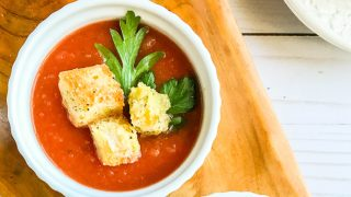 Slow Cooker Tomato Soup with Parmesan Croutons