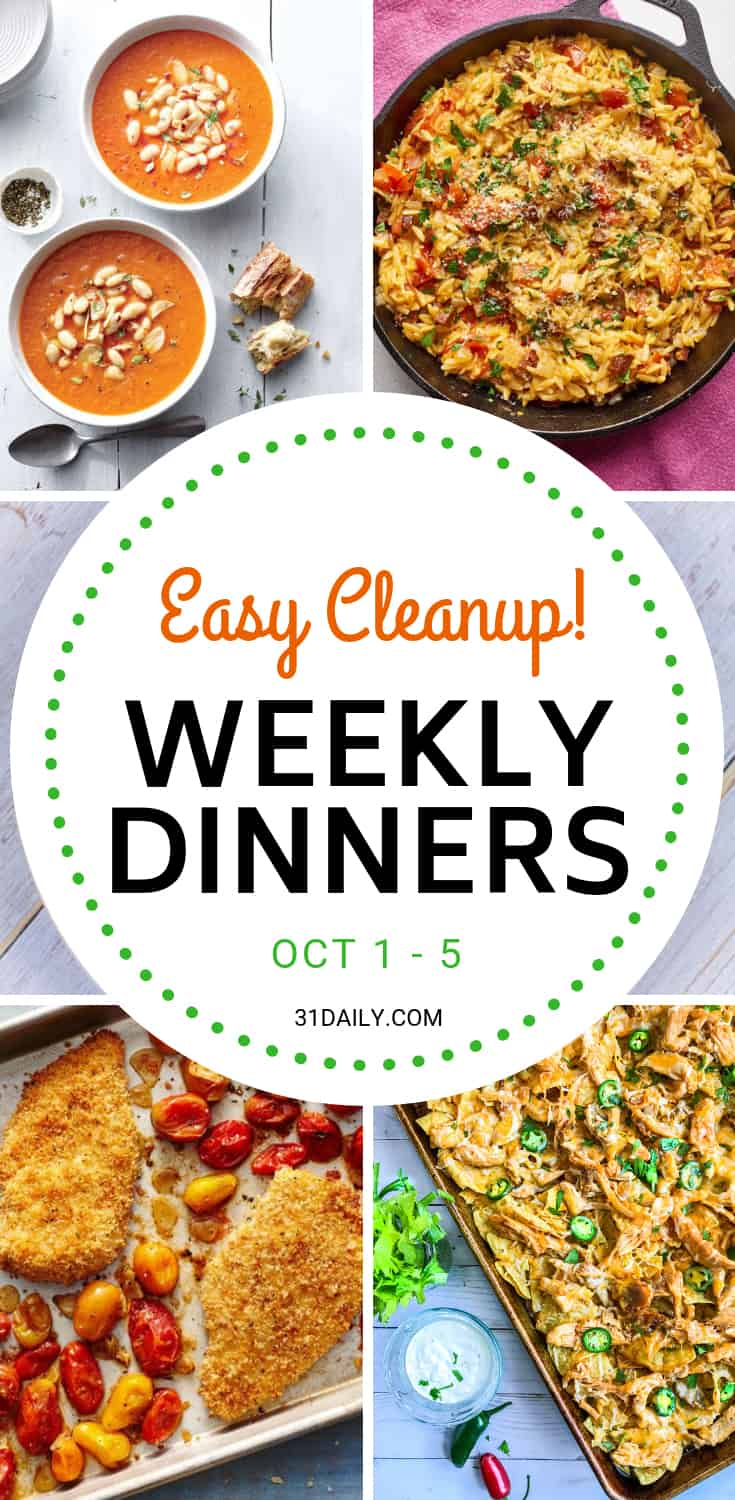 Weekly Dinner Meal Plan // Week 40: Easy Cleanup Dinners | 31Daily.com