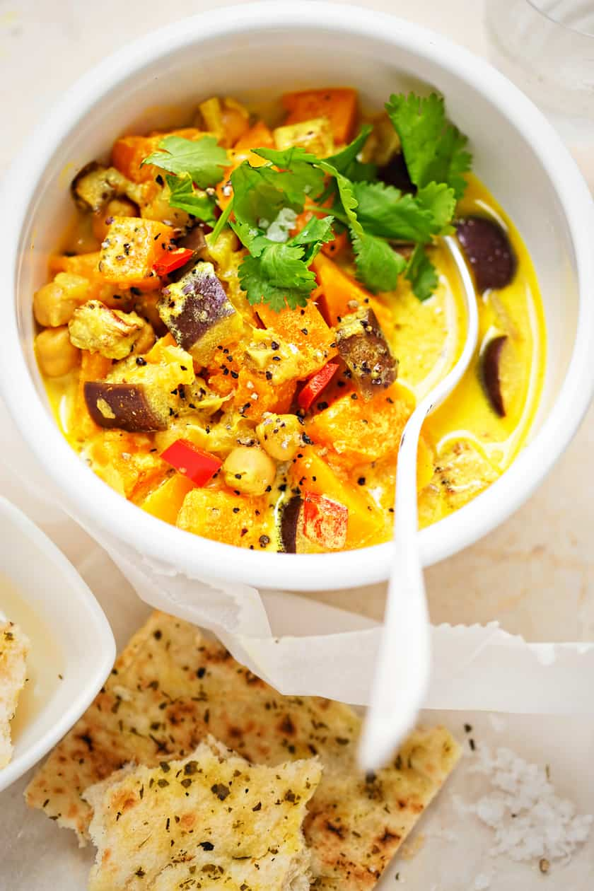 Simple Chickpea Curry with Eggplant and Butternut Squash | 31Daily.com
