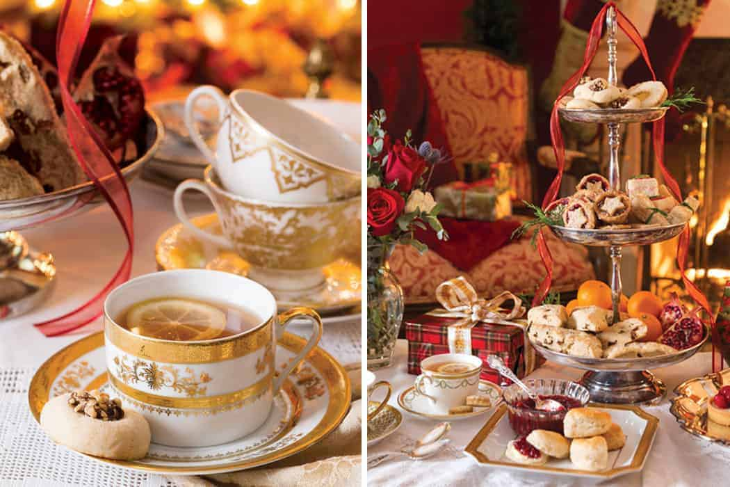 Gold and White Teacups with Teatime Food