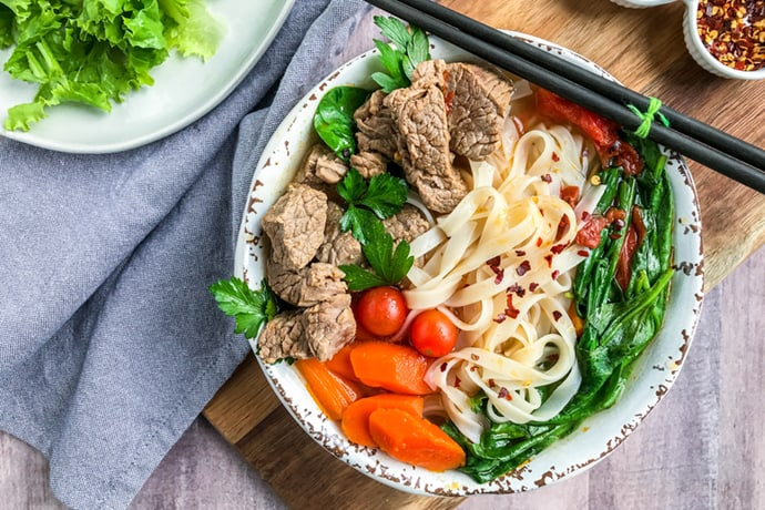 Asian Beef and Vegetable Soup with Pad Thai Noodles