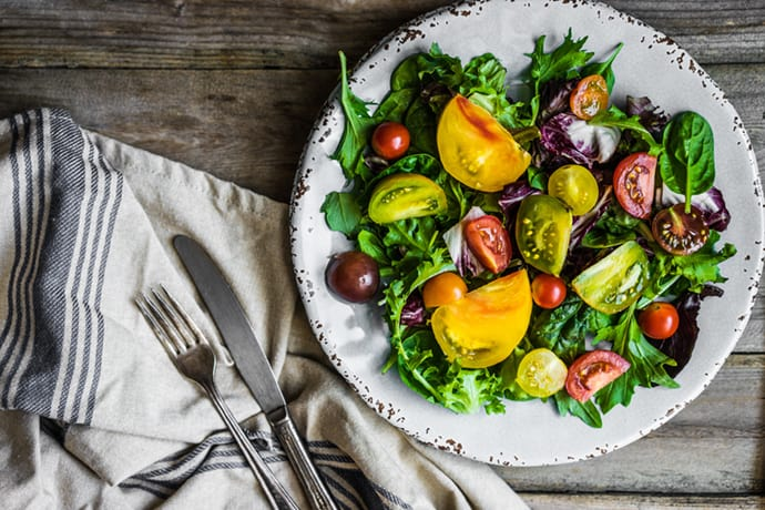 Heirloom Tomato, Arugula, and Spinach Salad