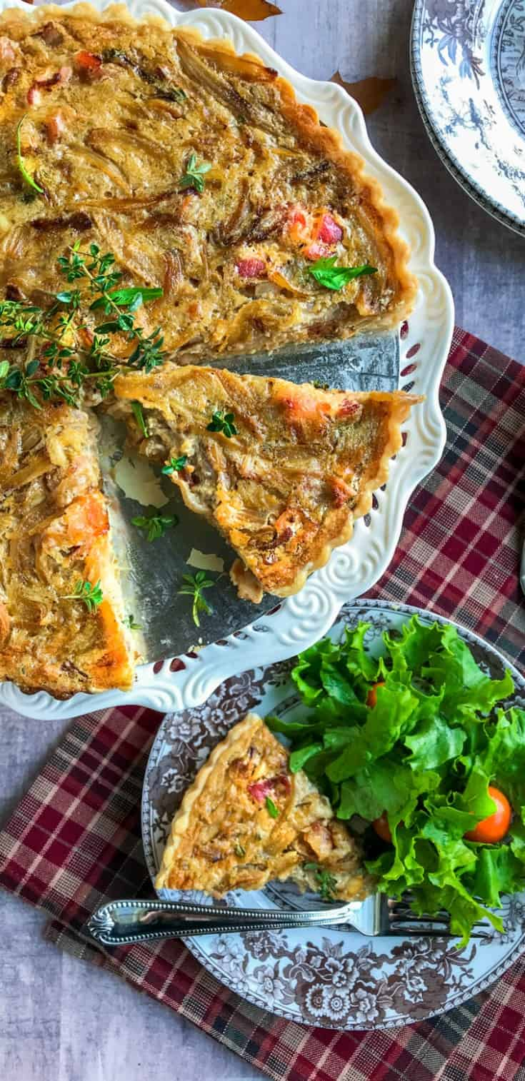 French Creamed Onion Tart with Bacon and Crème Fraîche is a retake on a timeless favorite; creamed onions. Enveloped in a flaky crust, dotted with savory bacon, garlic, herbs and whipped together with Crème Fraîche.