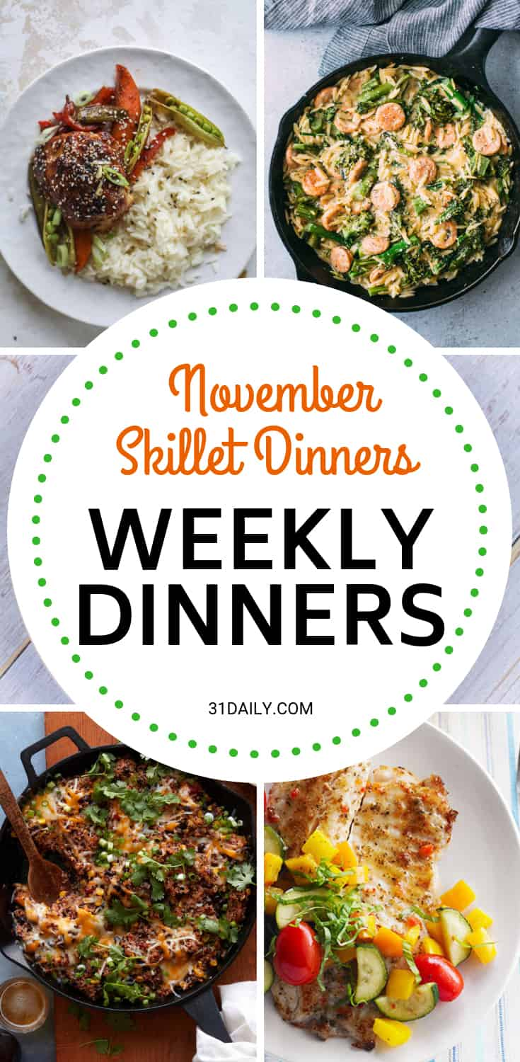 Weekly Dinner Meal Plan // Week 46: November Skillet Dinners | 31Daily.com