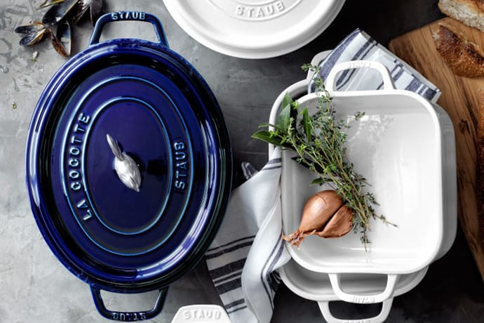 overhead view of staub cookware