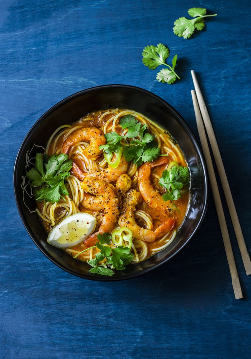 Asian Coconut Curry Noodle Soup with Shrimp | 31Daily.com